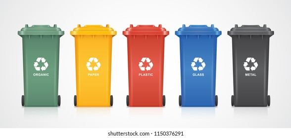 green, yellow, red, blue and black recycle bins with recycle symbol isolated on white background vector illustration