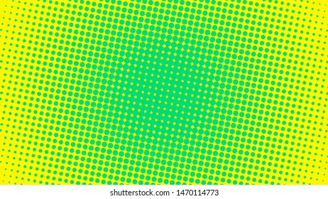 Green and yellow retro comic pop art background with dots, cartoon halftone background vector illustration eps10