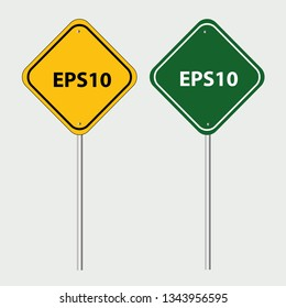 Green and Yellow Sign road Blank vector illustration