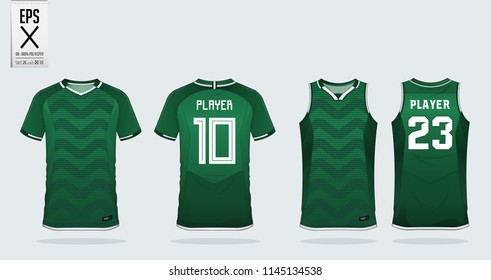Green zigzag pattern t-shirt sport design template for soccer jersey, football kit and tank top for basketball jersey. Sport uniform in front and back view. Sport shirt mock up for sport club. Vector.
