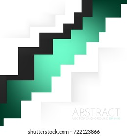 Green zigzag vector background with black colour overlap paper layer on white background space for presentation design