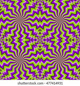 Green zigzags (spin illusion). Seamless pattern.