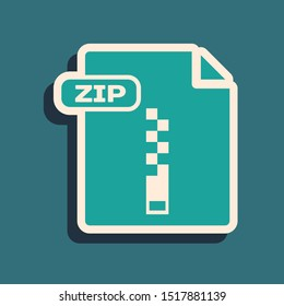 Green ZIP file document. Download zip button icon isolated on blue background. ZIP file symbol. Long shadow style. Vector Illustration