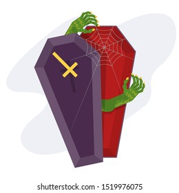 Green zombie climbs out of the coffin. Purple coffin with red lining. The living dead. Halloween character. Flat vector cartoon person on white background.