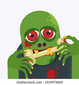 Green zombie greedily swallows a bloody bone. The living dead. Halloween character. Flat vector cartoon person on white background.
