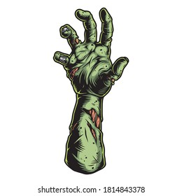 Green zombie hand vintage template isolated vector illustration