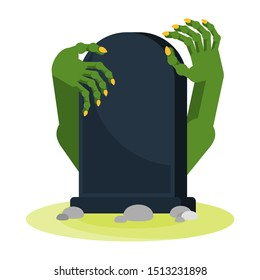 Green zombie hands with long yellow claws protrude from the grave. The living dead. Halloween character. Flat vector cartoon person on white background.