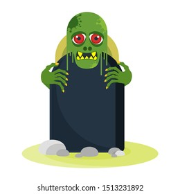 Green zombie with red eyes peeps out from behind a gravestone. The living dead. Halloween character. Flat vector cartoon person on white background.