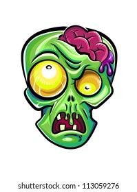 Green zombie's head with brains. Isolated on white background.