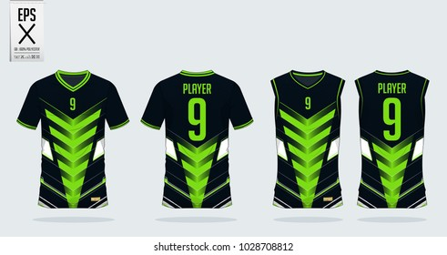Green-blue tshirt sport design template for soccer jersey, football kit and tank top for basketball jersey. Sport uniform in front and back view. T-shirt mock up for sport club. Vector Illustration