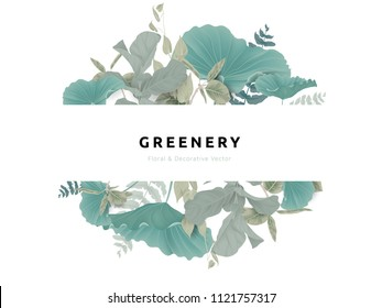 Greenery bouquet wreath template, lotus leaves and tropical green leaves in oval shape with white frame, pastel theme
