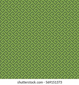 Greenery Classic meander seamless pattern. Greek key neutral tileable linear vector background.