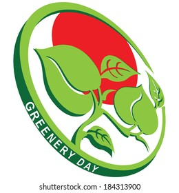 Greenery Day emblem in Japan. Vector illustration.