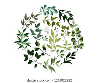 Greenery eco leaves herbs foliage in watercolor style. Wedding invitation card with leaf banner for save the date. Botanical elegant decorative vector template