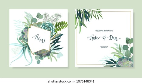 Greenery geometric set with leaves, succulent , eucalyptus, fern and cactus. Perfect for wedding, frame, pattern,greeting card, invitations, lettering. Watercolor style. Vector illustration