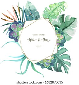 Greenery geometric set with tropical leaves and succulent. Perfect for wedding, frame, pattern, greeting card, invitations, lettering.  Vector illustration