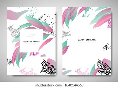 Greenery greeting/invitation card template design, pink and green leaves with hand drawn doodle graphics on white background