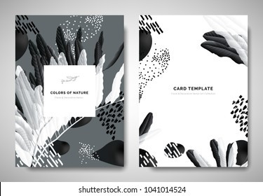 Greenery greeting/invitation card template design, leaves on branch with hand drawn doodle graphics on grey background, black and white tones