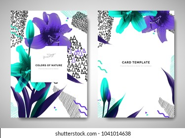 Greenery greeting/invitation card template design, lily flowers and leaves with hand drawn doodle graphics on white background, purple and green tones