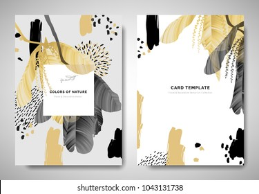 Greenery greeting/invitation card template design, leaves with flowers with hand drawn doodle graphics on grey background, black and golden tones
