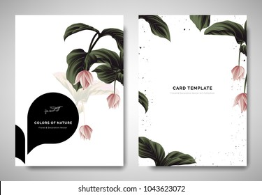Greenery greeting/invitation card template design, pink Medinilla magnifica flowers with black bubble frame on white background