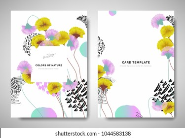 Greenery greeting/invitation card template design, yellow and pink carnation flowers with hand drawn doodle graphics on white background