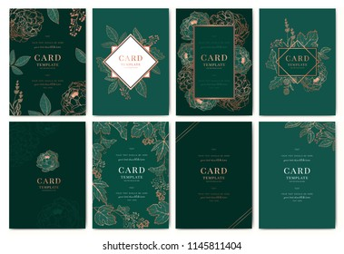 Greenery greeting/invitation card template design, metallic copper peony flowers and tropical leaf with emerald green background