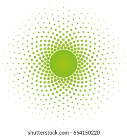 Greenery Halftone circle frame vector design element on white background. Halftoned Dots Flash Light With Fade Effect of Halo. Optical Illusion of Half Tone Spirograph Flower.