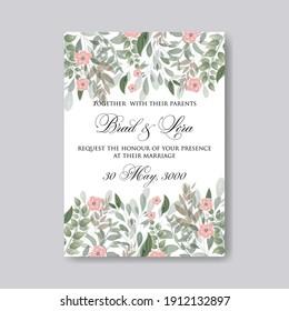 Greenery herbal spring wedding invitations