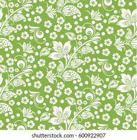 Greenery hohloma style, russian flower seamless pattern background vector. Trend color spring 2017