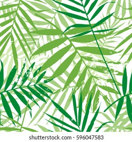 Greenery palm leaves seamless pattern. Color of the year 2017 background. Greenery trendy background. Vector illustration