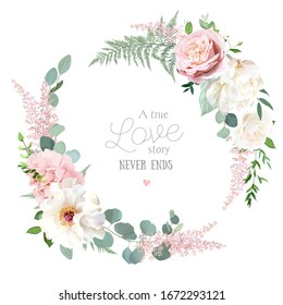 Greenery, pink and white peony, rose flowers vector design round invitation frame. Rustic wedding greenery. Mint, green tones. Watercolor save the date card. Summer rustic style. Isolated and editable