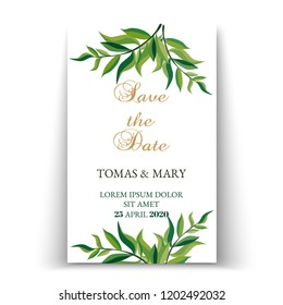 Greenery save the date invitation cards. Botanical save the dates, printable template. Save our Date cards. Minimalist wedding template.