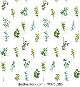 Greenery seamless pattern isolated on white background. Wallpaper with herb and bushes branches with leaves in watercolor stylization.