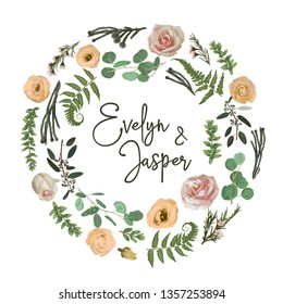 Greenery selection vector design round invitation frame. Flowers, eustoma cream, brunia, green fern, eucalyptus, rose, branches. Watercolor save the date card. Summer rustic style. All elements