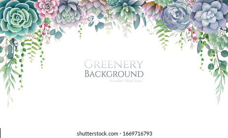 Greenery, succulent and branches frame border on white background. Beautiful template for invite or greeting card, banner. All elements are isolated and editable.
