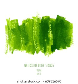 Greenery vector hand paint watercolor texture background. Strokes, splashes, spots and stains isolated on white. Abstract acrylic green frame for creative design with place for text or logo.