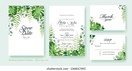 Greenery wedding Invitation card, save the date, thank you, rsvp template. Vector. Summer leaf, silver dollar eucalyptus, olive leaves, fern, Wax flower.