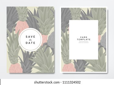 Greenery wedding invitation card template design, colored and black Bromeliaceae with circle and rectangle frames on light brown, vintage style