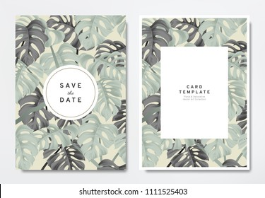 Greenery wedding invitation card template design, green and black split-leaf Philodendron plant with circle and rectangle frames on light brown, vintage style