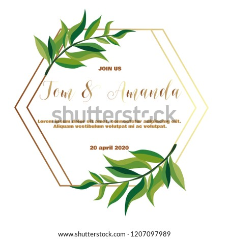 Greenery Wedding Invitation Template Printable Wedding Stock Vector
