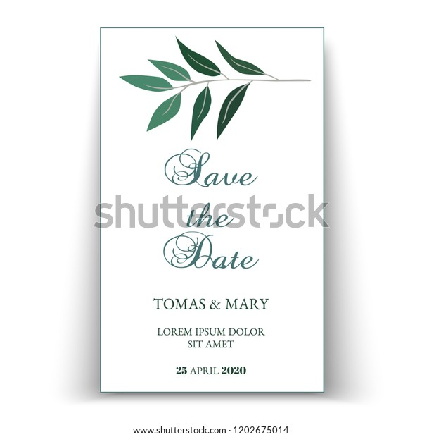 photo about Printable Wedding Invitation Templates known as Greenery Wedding ceremony Invitation Template Printable Wedding ceremony Inventory
