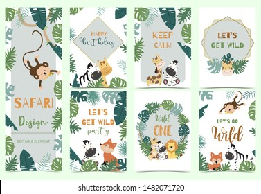 Green,gold animal collection of safari background set with lion,fox,giraffe,zebra,geometric vector illustration for birthday invitation,postcard and sticker.Wording include wild one,wild and free