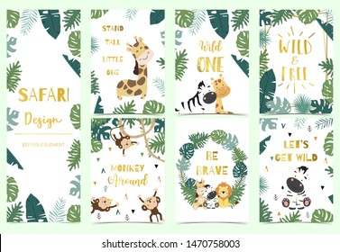 Green,gold collection of safari background set with lion,monkey,giraffe,zebra,geometric vector illustration for birthday invitation,postcard and sticker.Wording include wild one,wild and free