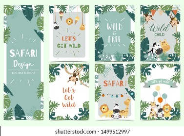 Green,gold collection of safari background set with lion,monkey,giraffe,zebra,geometric vector illustration for birthday invitation,postcard,logo and sticker.Wording include wild one,wild and free