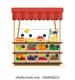 Greengrocer's shop with awning, marketplace or counter with fruits, vegetables and price tags. Place for selling food products on local farmers' market. Flat cartoon colorful vector illustration.