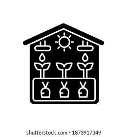 Greenhouse black glyph icon. Crop from glasshouse. Harvest in hothouse. Professional gardening structure. Cultivate vegetables. Silhouette symbol on white space. Vector isolated illustration