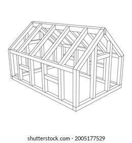 Greenhouse construction frame. Hothouse building object or framing house. Warm house Vector illustration. Glasshouse concept image