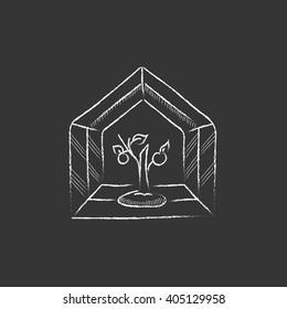 Greenhouse. Drawn in chalk icon.