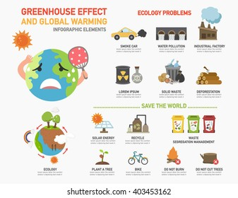 Greenhouse effect and global warming infographics.vector illustration.